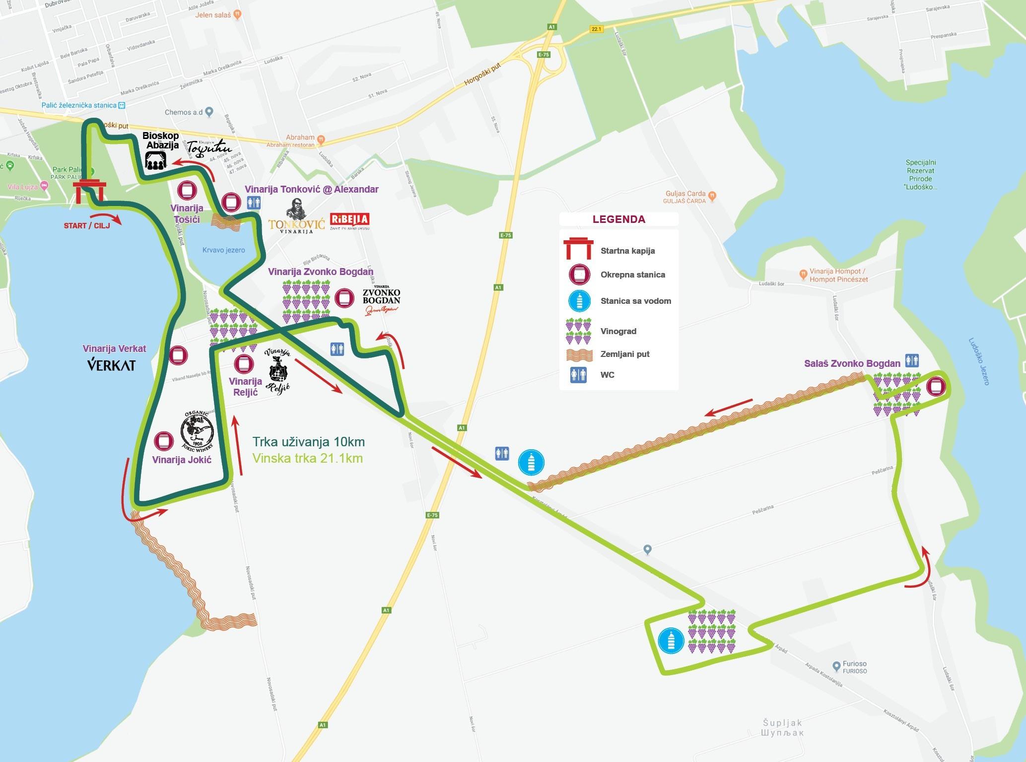 Mapa Vinski Maraton Palic Subotica